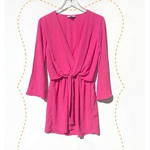 TOPSHOP long sleeve pink short dress